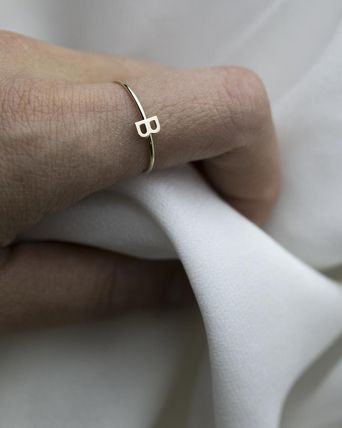 Initial Party Style 14K Gold Elegant Style Rings