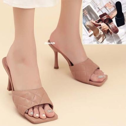 Mules Open Toe Square Toe Casual Style Faux Fur Pin Heels