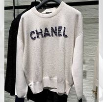 CHANEL ICON Crew Neck Casual Style Long Sleeves Plain Medium Logo