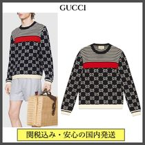 GUCCI Crew Neck Pullovers Stripes Monogram Street Style Cotton