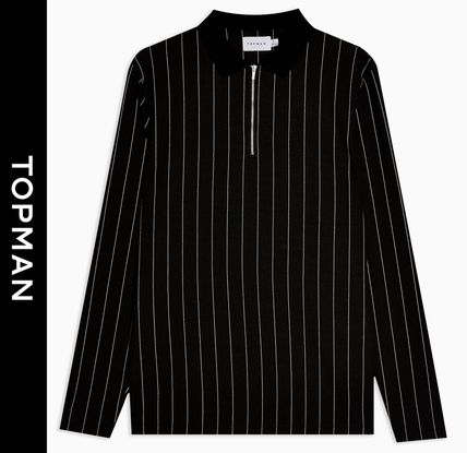 Stripes Street Style Long Sleeves Polos