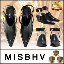MISBHV Casual Style Plain Leather Block Heels Party Style Mules