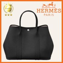 HERMES Garden Party Casual Style Calfskin Canvas A4 Plain Leather Office Style