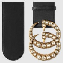GUCCI Wide Leather Belt With Pearl DoubleG