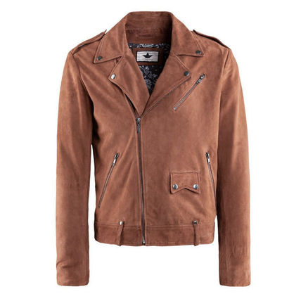Short Suede Street Style Plain Leather Jackets