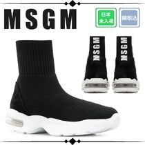 MSGM Round Toe Rubber Sole Casual Style Suede Plain Leather Logo
