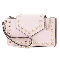 VALENTINO Studded Chain Leather Chain Wallet Logo Long Wallets