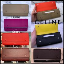 CELINE Flap Calfskin Logo Long Wallets