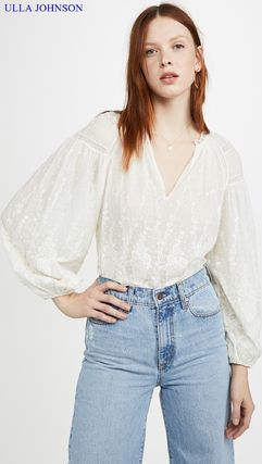 Casual Style Cropped Long Sleeves Plain Cotton Medium