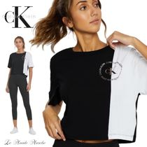 Calvin Klein CALVIN KLEIN JEANS Crew Neck Short Bi-color Plain Cotton Short Sleeves Logo