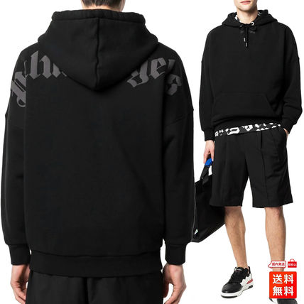Palm Angels Hoodies Pullovers Unisex Street Style Long Sleeves Cotton Oversized
