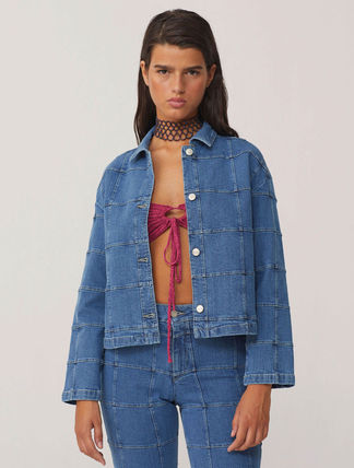 Casual Style Denim Plain Medium Denim Jackets Office Style