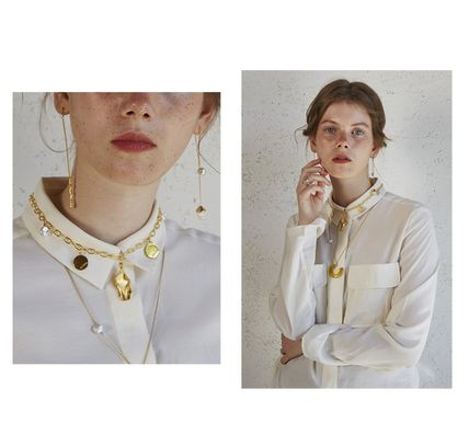 Casual Style Blended Fabrics Street Style 18K Gold