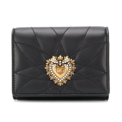 Heart Calfskin Blended Fabrics Plain Leather With Jewels