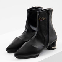 TOGA Casual Style Plain Block Heels Boots Boots