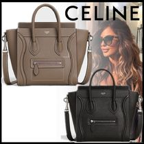 CELINE Luggage Casual Style Calfskin Blended Fabrics 2WAY Leather