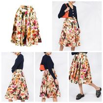 MSGM Flared Skirts Flower Patterns Casual Style Cotton Medium