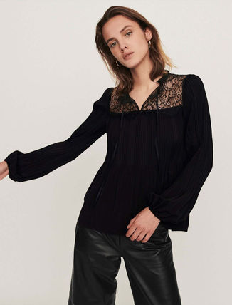 Casual Style Long Sleeves Plain Party Style Elegant Style