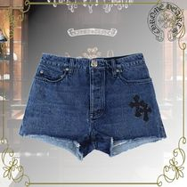 CHROME HEARTS Short Casual Style Denim Leather Cotton Logo