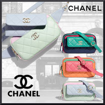 CHANEL Casual Style Bag in Bag 2WAY Plain Leather Elegant Style