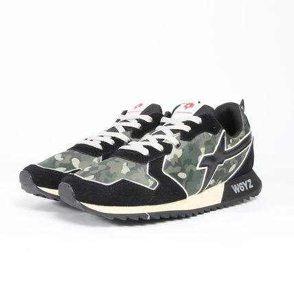 Camouflage Suede Blended Fabrics Street Style Logo Sneakers