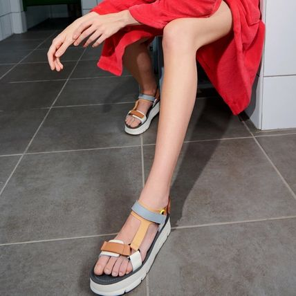 Open Toe Platform Casual Style Leather Sport Sandals