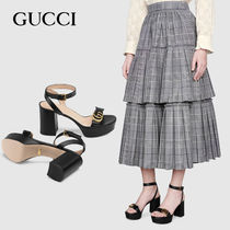 GUCCI Casual Style Street Style Leather Block Heels Office Style