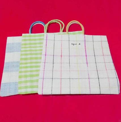 Other Plaid Patterns Casual Style Unisex A4 Logo Totes