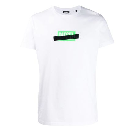 DIESEL Logo Crew Neck Cotton Short Sleeves Crew Neck T-Shirts