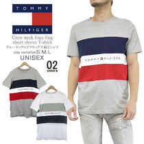 Tommy Hilfiger Crew Neck Pullovers Unisex Street Style Cotton Short Sleeves