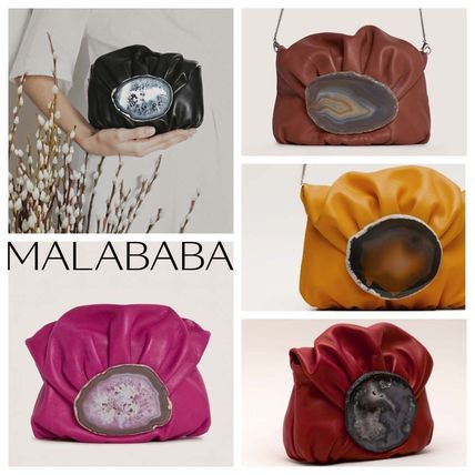 Casual Style Plain Leather Elegant Style Clutches