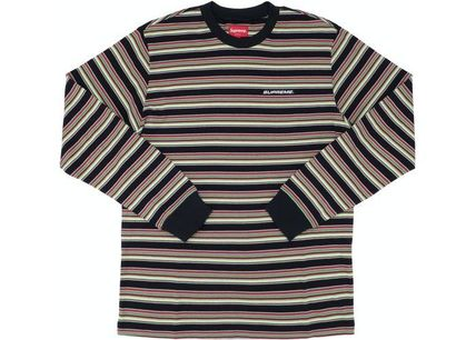 Supreme Long Sleeve T-shirt Crew Neck Pullovers Stripes Unisex