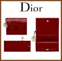 Christian Dior LADY DIOR Leather Folding Wallet Small Wallet Folding Wallets