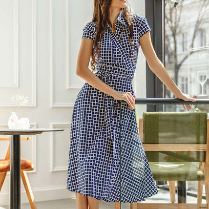 Wrap Dresses Other Plaid Patterns Casual Style A-line Flared