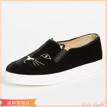 Charlotte Olympia Rubber Sole Velvet Plain Low-Top Sneakers