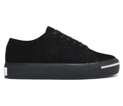 Round Toe Rubber Sole Suede Plain Leather Low-Top Sneakers