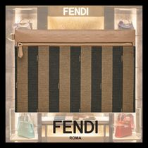 FENDI Stripes Calfskin Logo Clutches