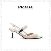 PRADA Casual Style Bi-color Leather Pin Heels Party Style