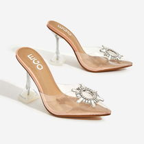 EGO Faux Fur Pin Heels With Jewels Elegant Style Mules