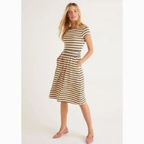 Boden Dots Casual Style A-line Flared Boat Neck Medium