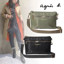 Agnes b Unisex 2WAY Plain Logo Shoulder Bags