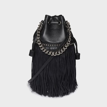 J & M Davidson Carnival Casual Style Studded Chain Plain Fringes Crossbody