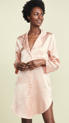 Silk Plain Front Button Lounge & Sleepwear