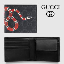 GUCCI Unisex Calfskin Canvas Blended Fabrics Street Style