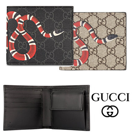 GUCCI Canvas Folding Wallet Logo Unisex Calfskin Blended Fabrics