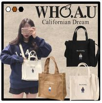 WHO.A.U Casual Style Unisex Street Style Totes