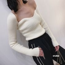Cable Knit Casual Style Rib Street Style V-Neck Boat Neck