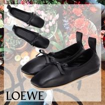 LOEWE Plain Leather Logo Ballet Shoes