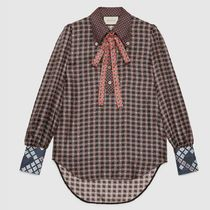 GUCCI Casual Style Silk Long Sleeves Party Style Elegant Style