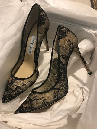 Jimmy Choo Flower Patterns Plain Toe Pin Heels Party Style